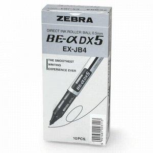 """Ручка-роллер ZEBRA """"Zeb-Roller DX5"""", ЧЕРНАЯ, корпус серебристый, узел 0,5 мм, линия письма 0,3 мм, EX-JB2-BK"""