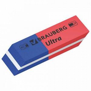 "Ластики BRAUBERG ""Ultra"" 6 шт., размер ластика 41х14х8 мм, красно-синие, натуральный каучук, 229599."