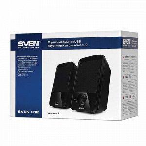 Колонки компьютерные SVEN 312, 2.0, 2х2 Вт, пластик, черные, SV-012540