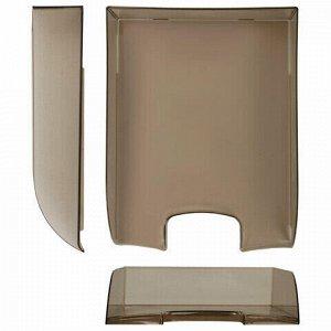 """Лоток горизонтальный для бумаг BRAUBERG """"Office style"""", 320х245х65 мм, тонированный серый, 237289"""