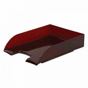 "Лоток горизонтальный для бумаг BRAUBERG ""Office style"", 320х245х65 мм, тонированный красный, 237291"