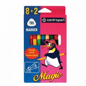 """Фломастеры меняющие цвет 8 ЦВЕТОВ CENTROPEN """"Magic"""", + 2 изменяющих цвет, вентилируемый колпачок, 2549/10KK, 5 2549 1001"""