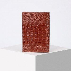 Обложка для паспорта ОПК-001, 9,5*0,5*13,5см, кайман скат, коричневый