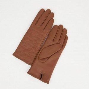 Перчатки женские, размер 8, с утеплителем, цвет коричневый