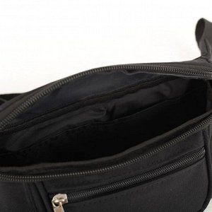 Сумка поясная, отдел на молнии, наружный карман, регулируемый ремень, цвет чёрный