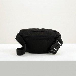 Сумка поясная на молнии, 1 отдел, 2 наружных кармана, регулируемый ремень, цвет чёрный