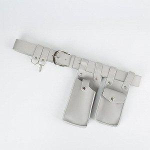 Сумка поясная, отдел на клапане, цвет серый