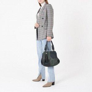 Сумка женская, 3 отдела на молниях, наружный карман, цвет зелёный