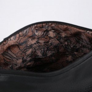 Сумка женская, отдел на молнии, регулируемый ремень, цвет чёрный