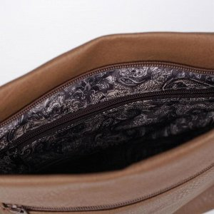 Сумка женская, отдел на молнии, наружный карман, длинный ремень, цвет светло-коричневый