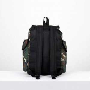 Рюкзак туристический, отдел на шнурке, 3 наружных кармана, цвет хаки