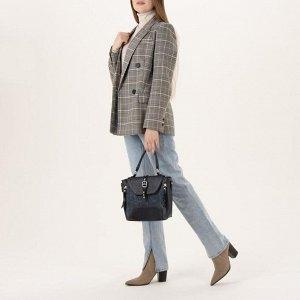 Сумка женская, отдел с перегородкой на молнии, 3 наружных кармана, длинный ремень, цвет синий