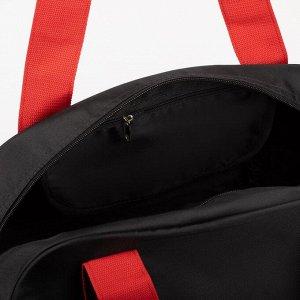 Спортивная сумка, отдел на молнии, наружный карман, длинный ремень, цвет чёрный/красный