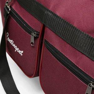 Сумка спортивная, отдел на молнии, 2 наружных кармана, длинный ремень, цвет бордовый
