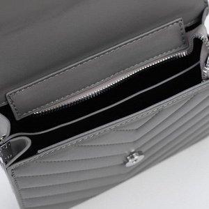 Сумка женская, отдел на клапане, длинный ремень, наружный карман, цвет серый