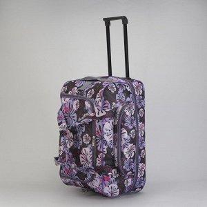 Сумка дорожная на колёсах, отдел на молнии, наружный карман, с расширением, цвет фиолетовый