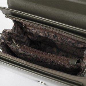Сумка женская, отдел на клапане, наружный карман, регулируемый ремень, цвет хаки