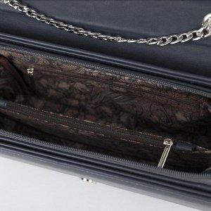 Сумка женская, отдел на клапане, наружный карман, цвет тёмно-синий