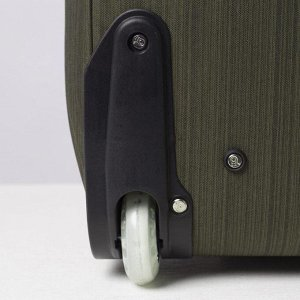 Сумка дорожная на колёсах, отдел на молнии, наружный карман, цвет зелёный