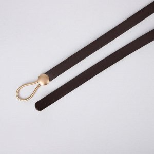 Ремень женский, ширина 1,5 см, пряжка золото, цвет коричневый