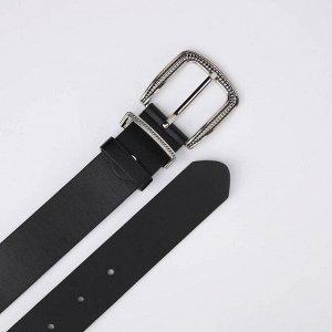 Ремень женский, ширина 3,5 см, винт, пряжка металл, цвет чёрный