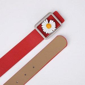 Ремень, ширина 3,5 см, пряжка гвоздик, цвет красный