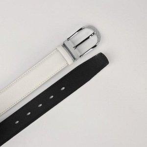 Ремень женский, ширина 3,5 см, пряжка металл, цвет белый