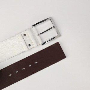 Ремень женский, ширина 6 см, винт, пряжка металл, цвет белый