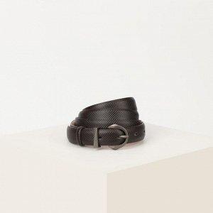 Ремень женский, ширина 2 см, винт, пряжка металл, цвет коричневый