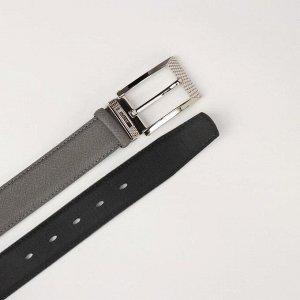 Ремень женский, ширина 3,5 см, пряжка металл, цвет серый