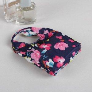 """Сумка складная """"Цветочный сад"""", отдел на кнопке, водонепроницаемая, цвет фиолетовый/розовый"""