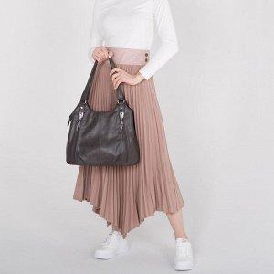 Сумка женская, отдел на молнии, 3 наружных кармана, цвет светло-коричневый