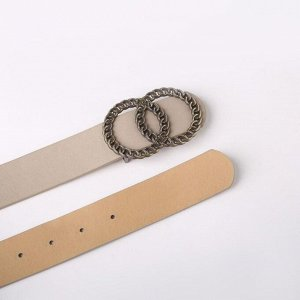 Ремень женский, ширина 3,3 см, гладкий, пряжка металл, цвет серый