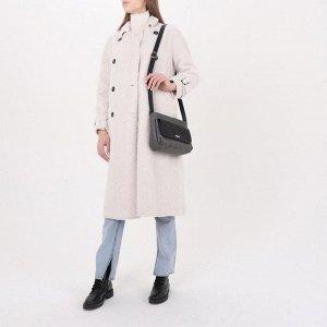 Сумка женская, отдел на молнии, 2 наружных кармана, регулируемый ремень, цвет серый/чёрный