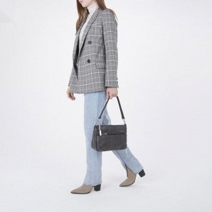 Сумка женская, отдел на молнии, 3 наружных кармана, длинный ремень, цвет серый