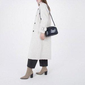 Сумка женская, 2 отдела на молнии, наружный карман, длинный ремень, цвет синий