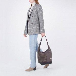 Сумка женская, 2 отдела на молниях, 3 наружных кармана, цвет коричневый
