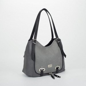 Сумка женская, 2 отдела на молниях, наружный карман, цвет чёрный/серый