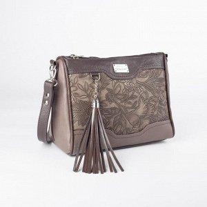 Сумка женская, 3 отдела на молниях, 3 наружных кармана, длинный ремень, цвет коричневый
