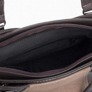 Сумка женская, 3 отдела на молниях, наружный карман, длинный ремень, цвет бежевый