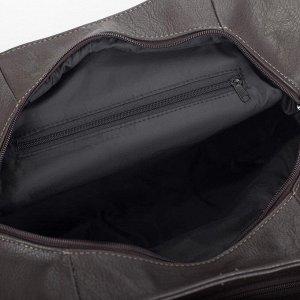 Сумка женская, 2 отдела на молнии, 3 наружных кармана, цвет коричневый