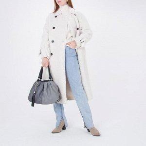 Сумка женская, отдел с перегородкой на молнии, наружный карман, цвет серый