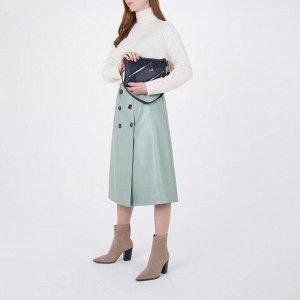 Сумка женская, 2 отдела на молнии, 3 наружных кармана, цвет синий