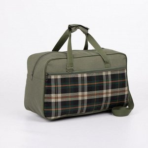 Сумка дорожная, отдел на молнии, наружный карман, длинный ремень, цвет зелёный