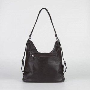 Сумка жен L-6708, 38*14*32, отд на молнии, н/карман, длин ремень, коричневый