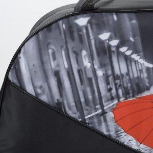 Сумка дорожная, отдел на молнии, длинный ремень, цвет чёрный/красный