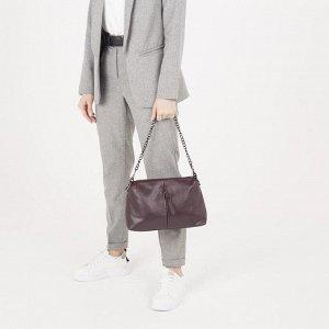 Сумка женская, 2 отдела на молнии, 2 наружных кармана, длинный ремень, цвет бордовый