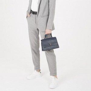 Сумка женская, отдел на молнии, наружный карман, длинный ремень, цвет синий