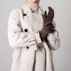 Перчатки женские безразмерные, для сенсорных экранов, цвет коричневый