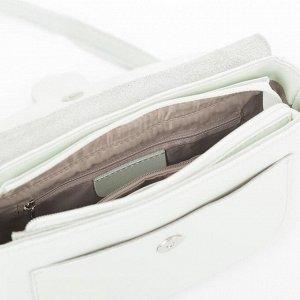 Сумка женская, отдел на молнии, 2 наружных кармана, регулируемый ремень, цвет мятный